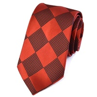 Burgundy Large Check Silk Tie by Pinoti