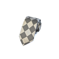 Silver & Black Check Silk Tie