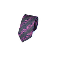 Charcoal & Purple Textured Stripe Silk Tie by Pinoti
