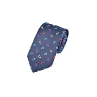 Navy Multicolour Paisley Silk Tie by Pinoti