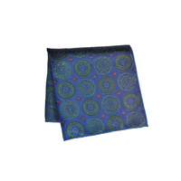 Navy & Green Tapestry Silk Pocket Square