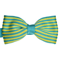 Aqua & Gold Striped Knitted Bowtie