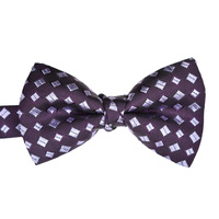 Purple Checked Silk Bowtie