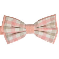 Pink Checked Cotton Bowtie