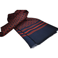 Navy & Red Geometric Scarf