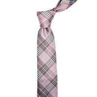 Checkered Pink Silk Tie