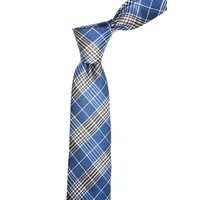 Navy Check Silk Tie