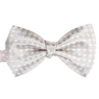 Champagne & White Spotted Silk Bowtie C322