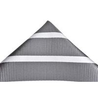Charcoal & White Striped Silk Pocket Square C303