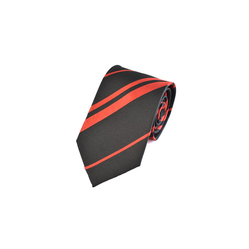 10036 Black & Red Striped Silk Tie