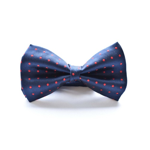 Navy Red Silk Spotted Bowtie