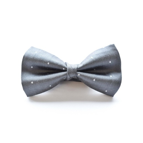 Grey White Silk Spotted Bowtie