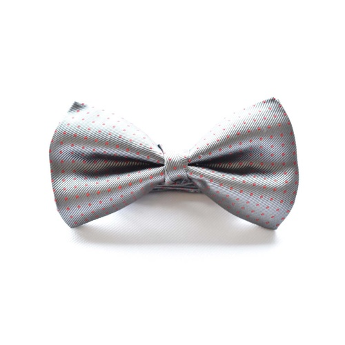 Grey Red Silk Spotted Bowtie