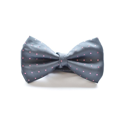 Grey Pink Silk Spotted Bowtie