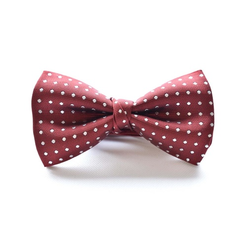 Burgundy White Silk Spotted Bowtie
