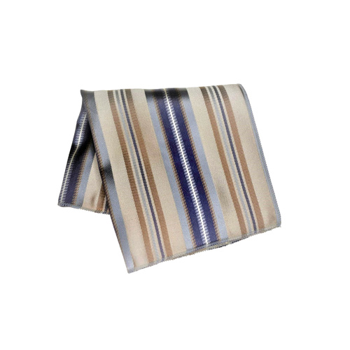 Taupe & Silver Striped Silk Pocket Square