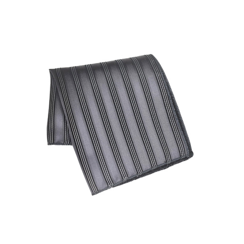 Gunmetal Striped Silk Pocket Square
