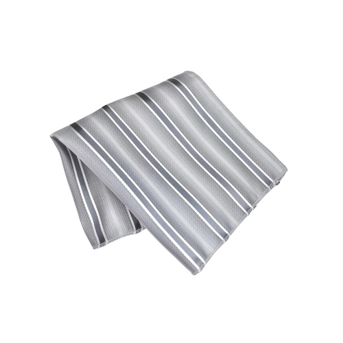 Silver Striped Silk Pocket Square