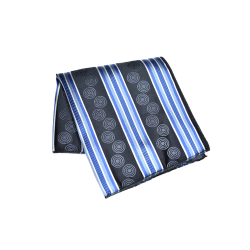 Black & Blue Striped Silk Pocket Square