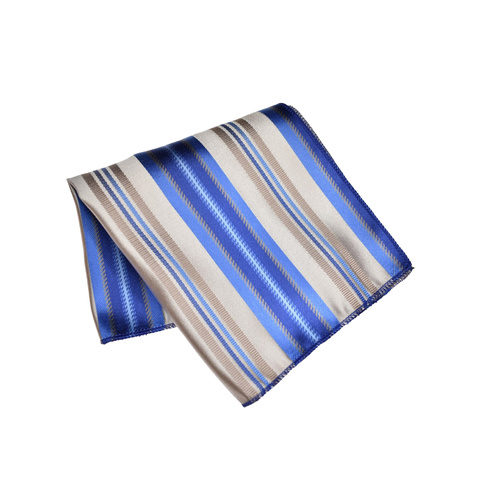 Taupe & Blue Striped Silk Pocket Square