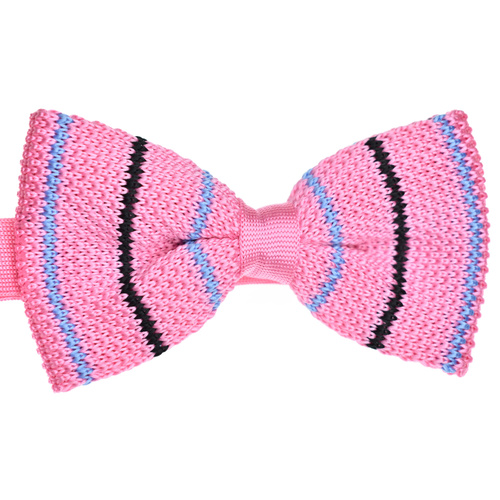 Pink Striped Knitted Bowtie