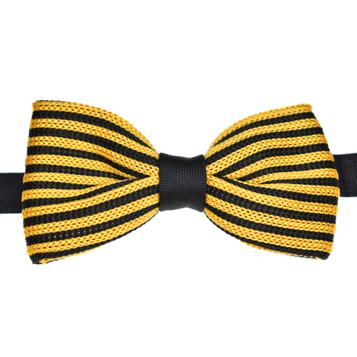 Black & Gold Striped Knitted Bowtie