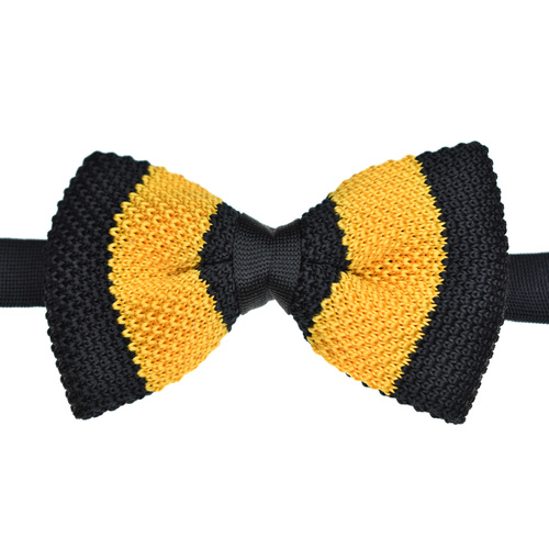 Black & Gold Wide Stripe Knitted Bowtie