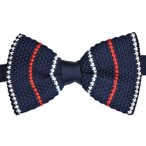 Navy & Red Striped Knitted Bowtie