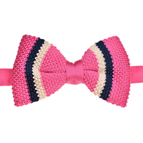 Pink & Navy Striped Knitted Bowtie