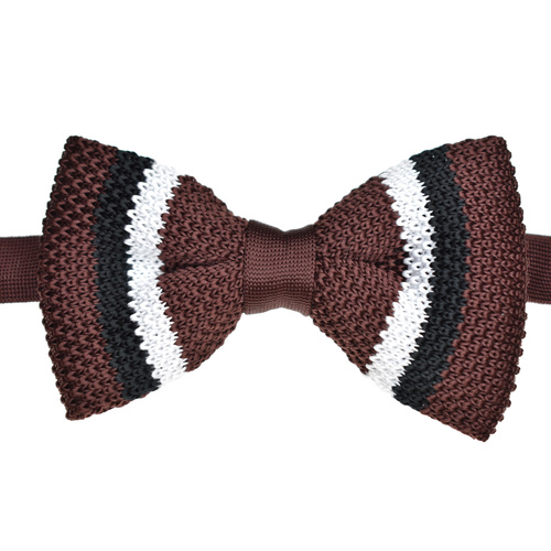 Chocolate & Black Striped Knitted Bowtie