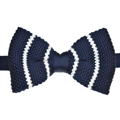 Navy & White Striped Knitted Bowtie