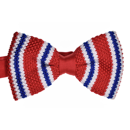 Red & White Striped Knitted Bowtie