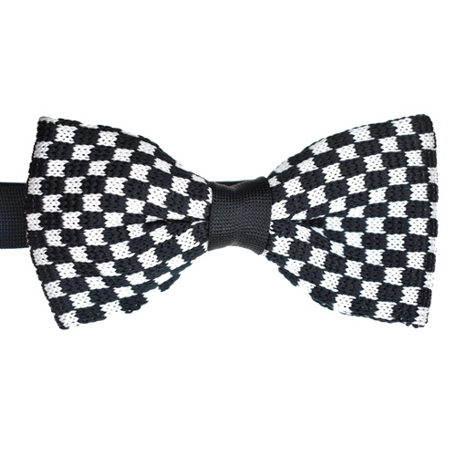 Black & White Checked Knitted Bowtie