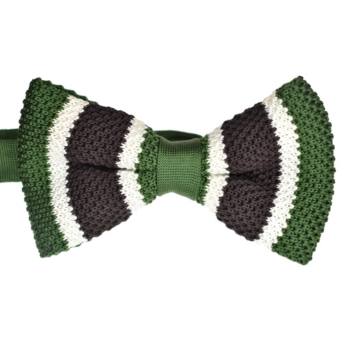 Green & Choc Striped Knitted Bowtie
