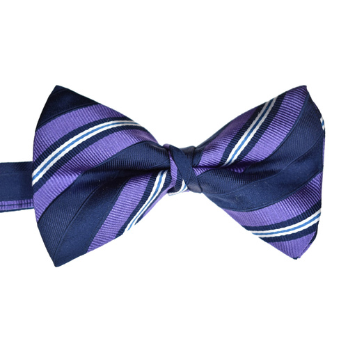 Navy & Lilac Striped Silk Bowtie