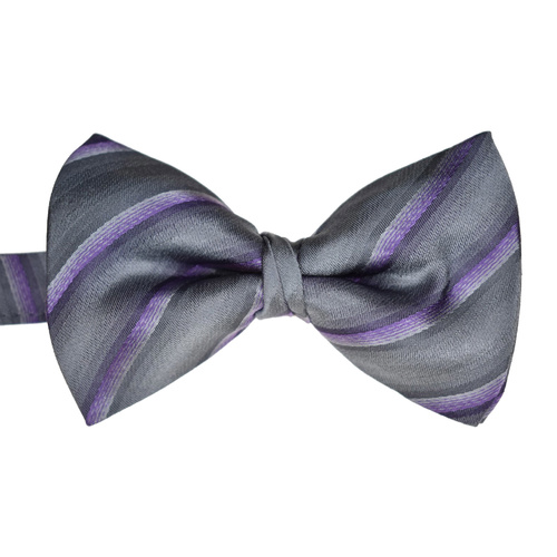 Charcoal & Lilac Striped Silk Bowtie