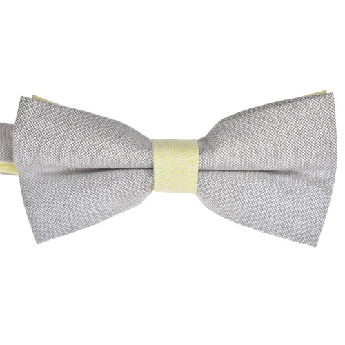 Silver & Lemon Cotton Bowtie