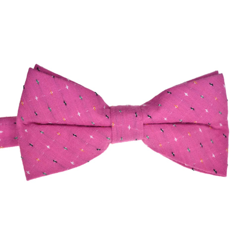 Pink Spotted Cotton Bowtie