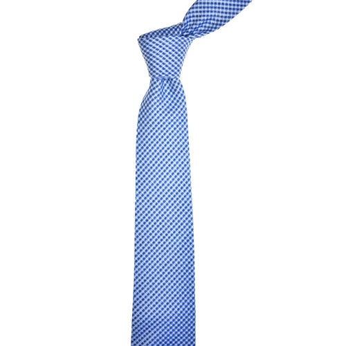 Checkered Blue Silk Tie