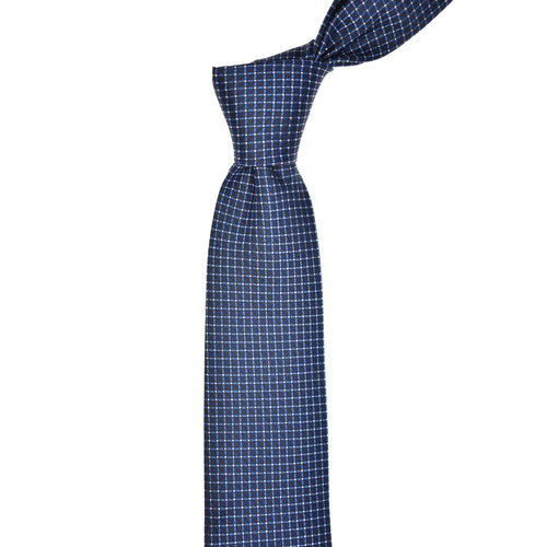 Geometric Blue Silk Tie