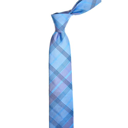 Checkered Sky Blue Silk Tie