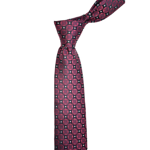 Floral Check Red Silk Tie