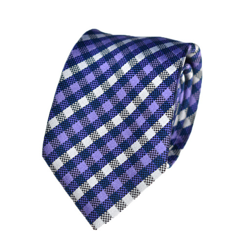 Checkered Purple Silk Tie