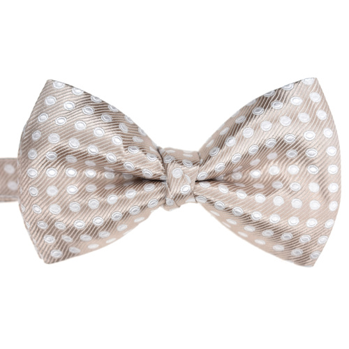 Mocha & White Spotted Silk Bowtie