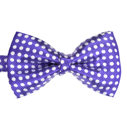Purple & White Spotted Silk Bowtie