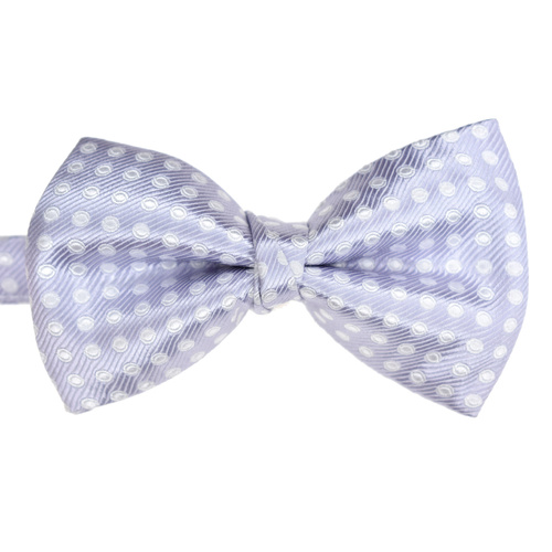 Lilac & White Spotted Silk Bowtie
