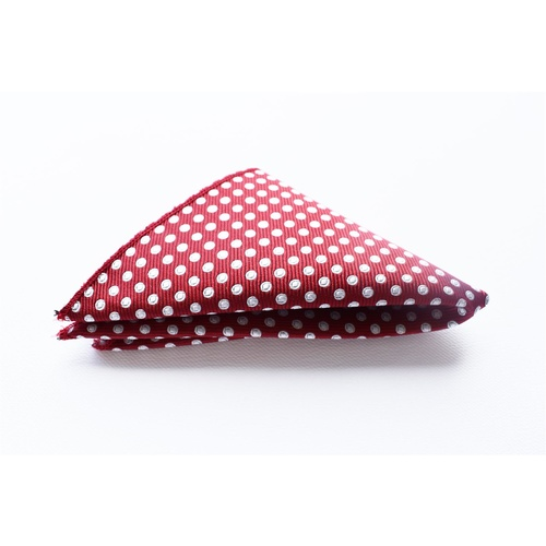 Burgundy & White Spotted Silk Pocket Square