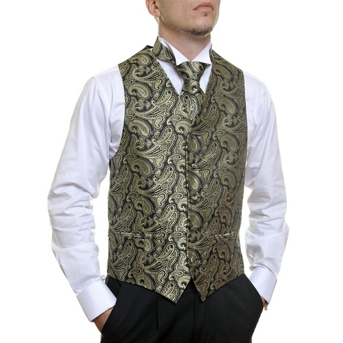 Black and Gold Paisley Vest C913